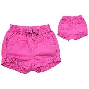 Shorts Bebê Sarja Com Babado  Jeito Infantil Rosa