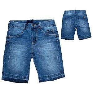 Bermuda Jeans Infantil Com Cadarço Jeito Infantil Azul