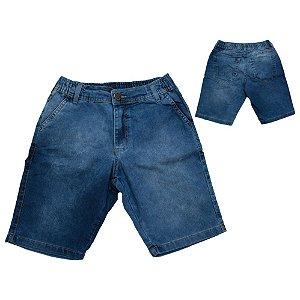 Bermuda Jeans Juvenil Cós Elástico Jeito Infantil Azul