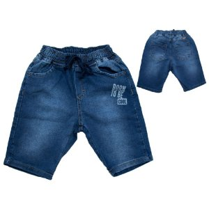 Bermuda Infantil Jogger Com Estampa Jeans Jeito Infantil Azul
