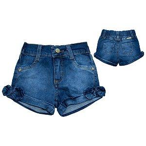 Shorts Jeans Bebê Laço Perna Jeito Infantil Azul