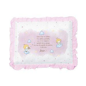 Travesseiro Bebê Oração Santo Anjo Papi Rosa