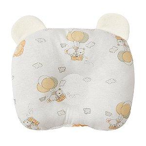 Travesseiro Bebê Anatômico Com Orelhinhas Papi Branco