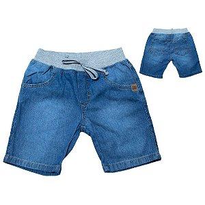 Bermuda Jeans Infantil Cós Ribana Jeito Infantil Azul