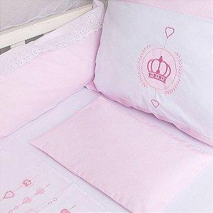Kit Protetor De Berço Bordado Coroa Papi Rosa