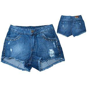 Shorts Jeans Juvenil Boyfriend Com Tachas Jeito Infantil Azul