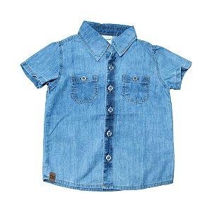 Camisete Jeans Infantil Com Bolso Jeito Infantil Azul