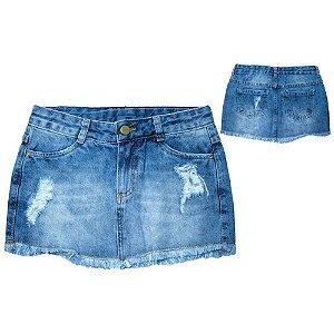 Saia Jeans Com Desfiado Jeito Infantil Azul