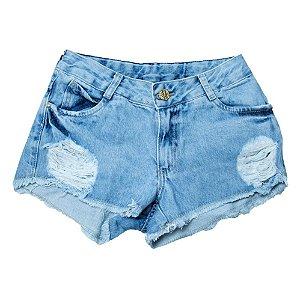 Shorts Jeans Boyfriend Jeito Infantil Azul Claro