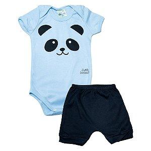 Conjunto Bebê Body Panda Jeito Inocente Azul