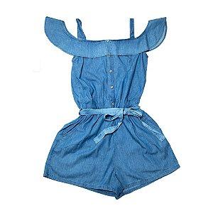 Macaquinho Jeans Juvenil Com Babado Jeito Infantil Azul