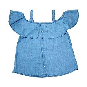 Blusa Jeans Juvenil Babado Jeito Infantil Azul