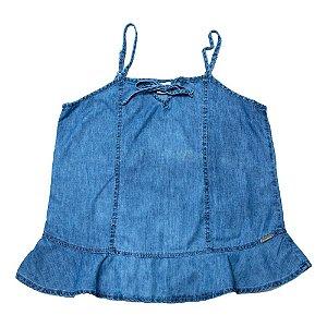 Blusa Jeans Juvenil Amarração Jeito Infantil Azul