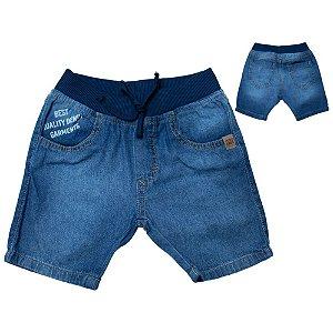 Bermuda Infantil Com Estampa Jeans Jeito Infantil Azul