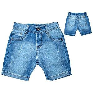Bermuda Jeans Infantil Meio Elástico Jeito Infantil Azul
