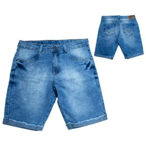 Bermuda Jeans Infantil Barra Virada Jeito Infantil Azul