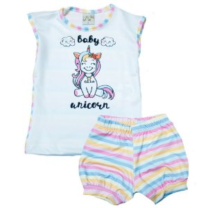 Conjunto Bebê Unicórnio Kibs Kids Rosa