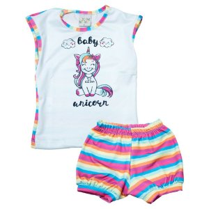 Conjunto Bebê Unicórnio Kibs Kids Pink