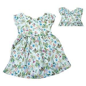 Vestido Infantil Estampa Pássaros Molekada Pérola