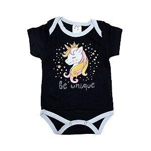 Body Bebê Unicórnio Nanny Baby Preto