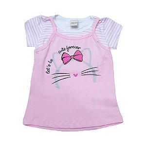 Blusa Infantil Sobreposta Gatinha Ralakids Rosa
