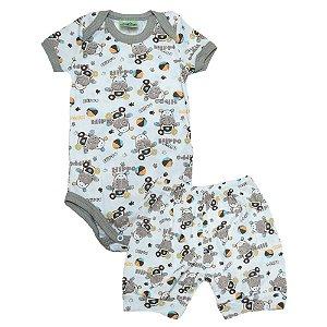 Conjunto Bebê Body Hipopótamo Jeito Inocente Pérola E Marrom