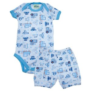 Conjunto Bebê Body Carros Jeito Inocente Branco e Azul