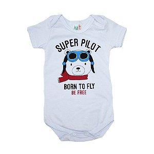Body Bebê Ursinho Aviador Jeito Infantil Branco