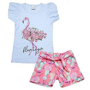 Conjunto Infantil Flamingo Molekada Branco
