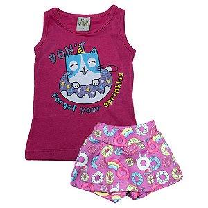 Conjunto Bebê Gatinha Kibs Kids Pink