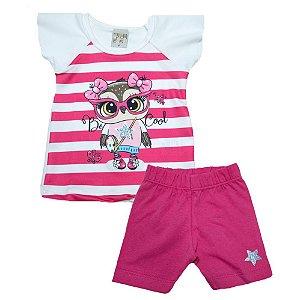 Conjunto Bebê Coruja Kibs Kids Pink