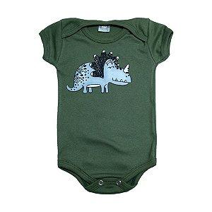 Body Bebê Dino Meu Bebê Verde Militar