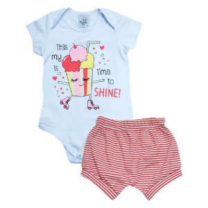 Conjunto Bebê Body Time To Shine Castelo Kids Branco