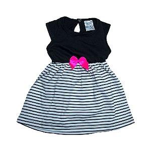 Vestido Bebê Listras Uni Duni Preto
