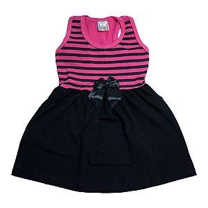 Vestido Infantil Nadador Listras Inova Kids Pink e Preto