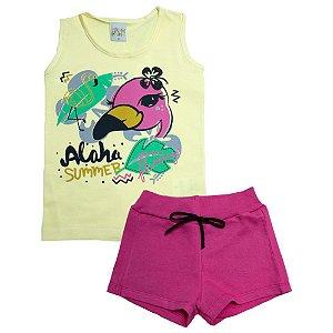 Conjunto Infantil Flamingo Kibs Kids Amarelo