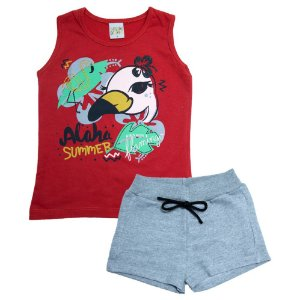 Conjunto Infantil Flamingo Kibs Kids Vermelho
