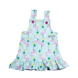 Vestido Jardineira Infantil Flamingo Kibs Kids Verde