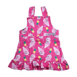 Vestido Jardineira Infantil Flamingo Kibs Kids Pink