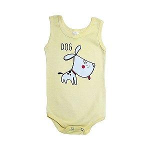 Body Regata Bebê Dog Meu Bebê Amarelo