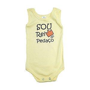 Body Regata Bebê Rei Do Pedaço Meu Bebê Amarelo