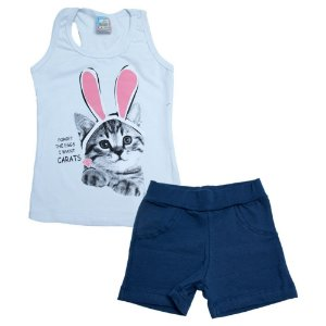 Conjunto Infantil Cat Rabbit Inova Kids Branco