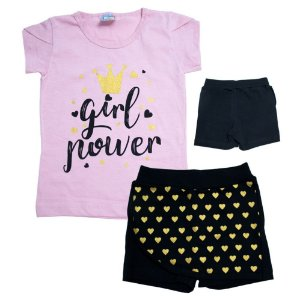 Conjunto Infantil Girl Power Inova Kids Rosa