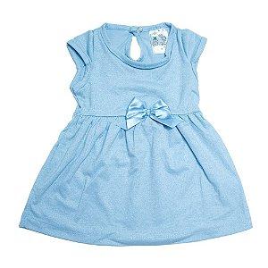Vestido Bebê Com Laço Uni Duni Azul