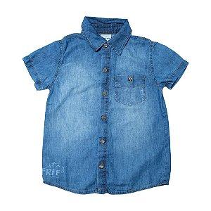 Camisete Jeans Infantil Com Bolso e Estampa Jeito Infantil Azul