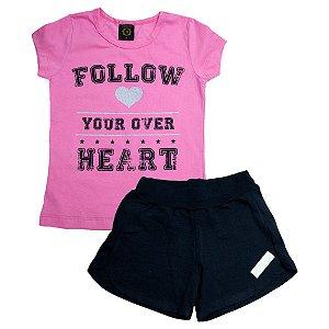 Conjunto Juvenil Follow Heart Difusão Rosa