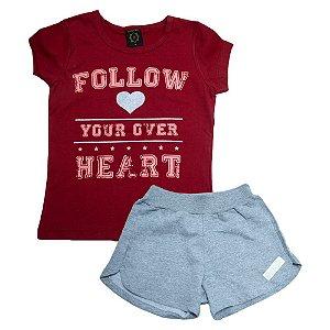 Conjunto Juvenil Follow Heart Difusão Vermelho