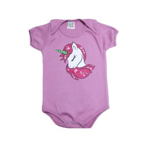 Body Bebê Unicórnio Jeito Infantil Rosa Chá
