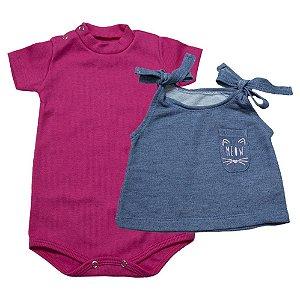 Body Bebê Com Blusa Baby Gut Pink
