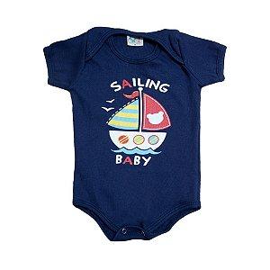 Body Bebê Barquinho Jeito Infantil Marinho